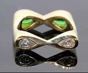 Women's 18k Gold Emeralds and Pear Diamond Ring Square Reverse Size 9.5 #31991