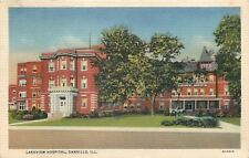 Danville Illinois~Lakeview Hospital~Peaked Roof~Porch Entrance~1932 Postcard