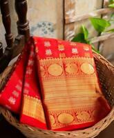 Kanchipuram Silk Saree Indian Bollywood Sari Designer Blouse Wedding Ethnic Suit