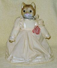 """Vintage Handcrafted Mrs Kitty Cat Porcelain Doll Figurine 12"""" Tall"""