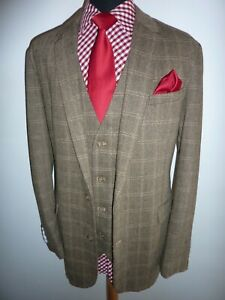 New Cotton Traders Brown Tweed Check Suit Jacket & Waistcoat Mens Size 52 R