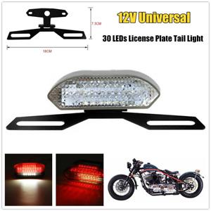 12V Motorcycle Universal 30 LEDs License Plate Tail Light Brake Stop w/Bracket