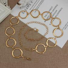 Womens Metal Waist Chain Gold Color Decorative Belt Circle Dress Chain Belts KI