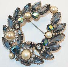 Vintage Juliana Aurora Borealis Blue Rhinestones Faux Pearls Wreath Brooch Pin