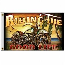 Chopper Biker Motorrad Riding the Good Life Harley Flag Flagge Fahne Banner NEU