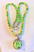 925 Sterling Silver Necklace with Jade Pendant & Jade and Sterling Beads REDUCED