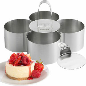 VonShef Cooking Rings Set of 4 Presentation Food Stainless Steel Cheese Cake