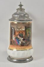 f91a66- Porzellan Bierkrug mit Zinndeckel und Lithophanie