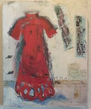 JUDITH WILLIAMS California Art ORIGINAL Oil RED DRESS Painting Signed EXCELLENT