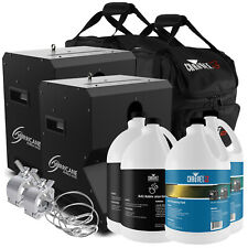 Chauvet DJ Haze Machine - 2 Pack w/ Bubble & Fog Fluid, Clamps, Cables & Cases