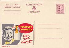 Belgium c1951 Plublibel 1752 Lion 2f with Yoghourt Nutrella Postcard Unused VGC
