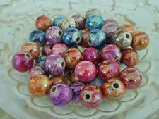 50 pce Colourful Round Drawbench Acrylic Spacer Beads 12mm