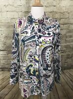 Talbots Long Sleeve Button Down Blouse Roll Sleeves Multicolor Medium Petites