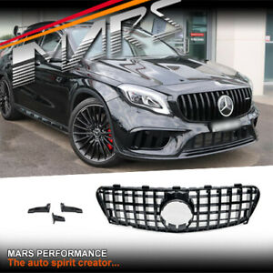 Gloss Black AMG GT-R Style Bumper Bar Grille for Mercedes-Benz GLA X156 2018-20