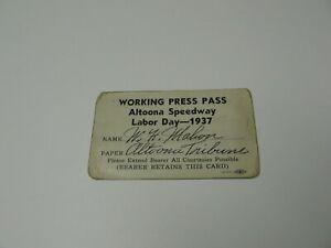 1937 Rare Altoona ( Pa.) Speedway Racing Press Pass Labor Day Weekend