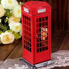 Red Vintage London Telephone Booth Money Saving Box Coin Piggy Bank Model Gift