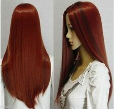 Hot Girls Charming Long Dark Red Straight Women Cosplay Party Synthetic Full Wig