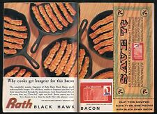 1962 RATH BLACK HAWK BACON AD~WATERLOO,IOWA~CAST IRON FRYING PANS~COUPON