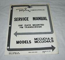 REGENCY MCCU01A, B & MCCU04A, B  UHF FM Radio Transceiver SERVICE MANUAL