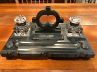 """Vintage Black Marble Soap Stone & Crystal Double Ink Well, 12 3/4"""" W X 8 3/4"""" D"""