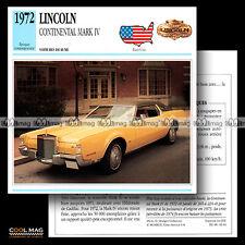 #042.14 LINCOLN CONTINENTAL MARK IV (MK7) 1972 - Fiche Auto Classic Car card