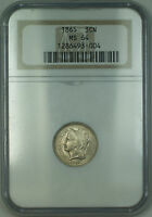 1865 Three Cent Nickel 3c Coin NGC MS-64