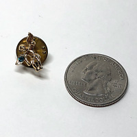 "Vintage Christian Religious Lapel Hat Tie Pin Pinback Angel 1/2"" Green Stone #43"