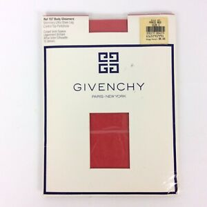 Givenchy Body Gleamers Pantyhose Size C Paris Red Shimmery Control Top Vtg 80s