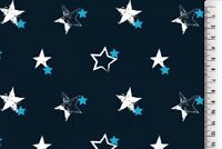 Stoff Jersey blau dunkelblau hellblau weiß Stern Sterne Baumwolle Kinder 18€/m