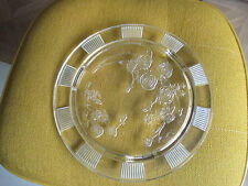 """Vintage  Clear Glass Cake Plate   Federal Glass Co Sharon Cabbage Rose  11 1/2"""""""