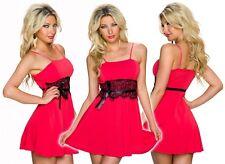 Vestito donna miniabito rosso gonna svasata sexy pizzo elegante nuovo
