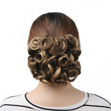 Short Messy Curly Hair Bun Chignon Stretch Hair Combs Ponytail Clip in Extension