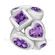 Lovelinks Bead Sterling Silver, Heart Square Circle Amethyst CZ Charm TT522AM