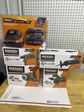 RIDGID 18Volt 3) MEGAMax Octane Attachment Heads, 2 Bluetooth Battery &Charger