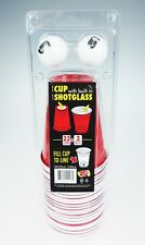 Red Party Cups with Built-in Shotglass (22 Cups & 2 Pong Balls) & CANDY! 8^P...