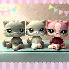 Littlest Pet Shop Cat Persian Lot Long Hair All Authentic Purple/Green Eyes