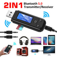 2in1 USB LCD Bluetooth 5.0 Audio Transmitter Receiver Adapter AUX For TV PC Car