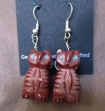 Native Zuni Pipestone Etched Owl Fetish Dangle Hook Earrings by B Phillips JE137