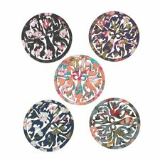 Sexy Sparkles 5 Pcs Round Wood Charm Pendants Flower Pattern Assorted Colors 46m