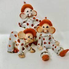 VTG Set of 3 Ceramic Big Ear Clown Figures Made Japan Polka Dot Elf Pixie Xmas