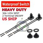 2pcs 12V 4' Wire Leads Waterproof On-Off Push-Button Switch for Motorcycle Car