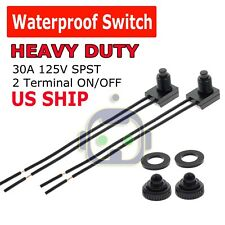 """2pcs 12V 4"""" Wire Leads Waterproof On-Off Push-Button Switch for Motorcycle Car"""
