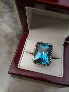Gorgeous Statement London Blue Topaz Emerald Cut Gemstone Ring 7