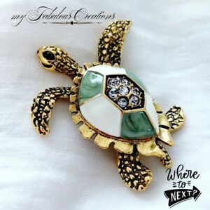 Vintage Style Gold Green Enamel Turtle Tortoise Crystal Brooch Pin Broach Gift