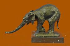 Huge Sale Signed Bugatti Animal Kingdom Mother Elephant Bronze Sculpture Statue