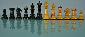 19th c. Box wood Vienna Coffee haus Chess Set w. Original Box