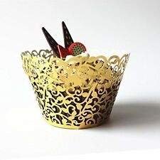 120pcs Classical  Cupcake Wrappers Laser Cut Wedding Decorations Wraps golden