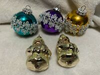 West Germany Vintage Assorted Christmas Tree Ornaments.Lot of 5. Please Read