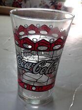 Vintage ENJOY COCA-COLA Tiffany Style Stain Glass Drinking Tumbler Glass 16 oz.