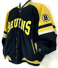 Vintage 90s Mirage Mens Canvas Jacket Boston Bruins NHL Hockey Zip Up Coat M